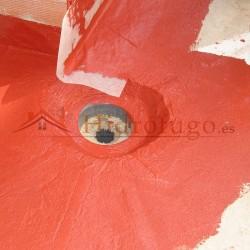 Membrana híbrida+poliuretano Sopgal especial para superficies con inclinaciones y desagües