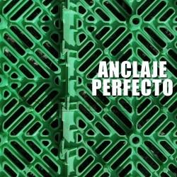 Loseta antihumedad ventilada polipropileno color verde, fáciles de montar y de limpiar.