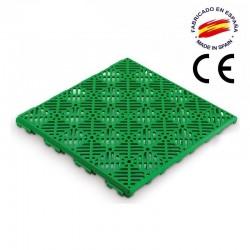 Loseta ventilada antihumedad para suelos con certificado CE en color verde.