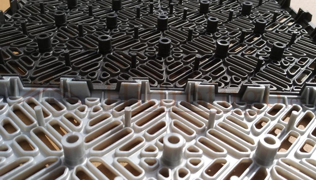 Loseta de polipropileno virgen color gris aluminio claro o gris forja-antracita.